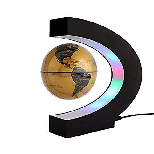 Flotante Globo Bola de mapa del mundo planeta Tierra giratoria con visualización LED de levitación magnética en forma de C soporte de plataforma–educativo regalo para niños, computadora de oficina decoración adorno, Dorado