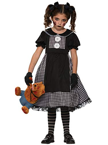 Forum Novelties Kids Dark Rag Doll Costume, Black, Large -