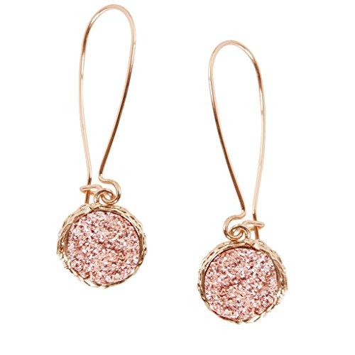 Humble Chic Simulated Druzy Threaders - Upside-Down Long Hoop Dangle Drop Earrings, Rose Gold-Tone, Pink (Hoop Drop Delicate)