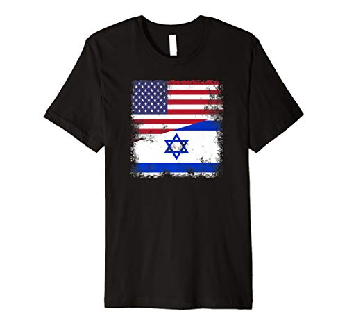 Half Israeli Flag T-Shirt   Vintage Israel USA Gift