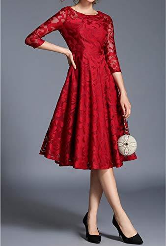 Cerimonia Abito Red 4 A Abiti Lunghe Corte Maniche Donna Da Wuzifu 3 Lunghezza Girocollo Vestito Floreale Media wx4qYayX7p
