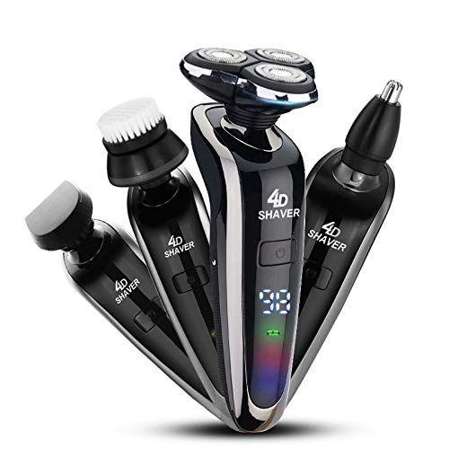 Electric Razor,Waterproof Eletric Shaver,USB Rechargeable 4 in 1 Men s 360 Rotary Electric Shaving Razors