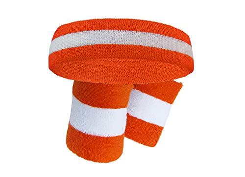 Jackie Moon Semi Pro (Premium Quality Semi-pro Jackie Moon Dark Orange Striped Sweat Headband Wristband)
