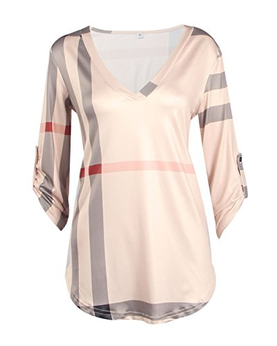 Womens Trendy Roll Up 3/4 Sleeve V Neck Plain Shirt Blouse Plus Size Tunic Tops (XL(US 12), Pink)