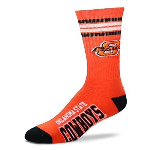 11 Team Logo Socks - For Bare Feet NCAA 4 Stripe Deuce Crew Men Socks (Oklahoma State Cowboys- State Logo, Large (10-13))