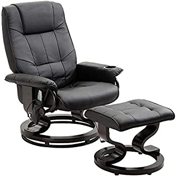 Amazon Com Bonded Leather Recliner And Ottoman Black