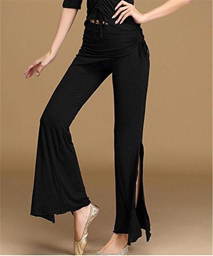 Black Pantalon Fente Formation Yoga Danse De Ventre Confortable wwpATH