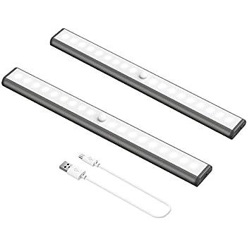 USB Rechargeable 18 LED Under Cabinet Lights, Okeanu Stick-on Anywhere Portable Magnetic Motion Sensor Light Auto On/Off Sensing Night Light Lamps Bulb Lighting Bar(2 Pack Black)