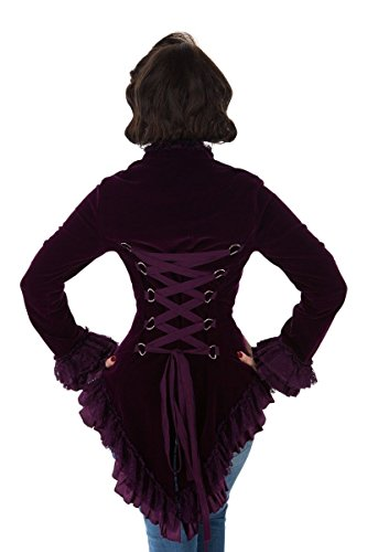 Heart Coat - Hearts & Roses Womens Velvet Victorian Steampunk Tailcoat Corset Back - Purple (US 8)