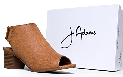 Peep Toe Bootie – Low Stacked Heel - Open Toe Ankle Boot Cutout Velcro Enclosure,Tan Pu,8 B(M) US by J. Adams (Image #6)