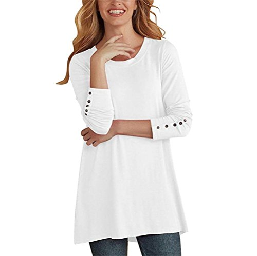 Chemisier Long Femme Chemise Shirts Longues Manches Casual T Neck O Blanc Bringbring Bouton 8xwx0OqZ