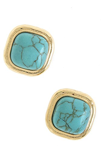 Bezel Square Earrings - 7