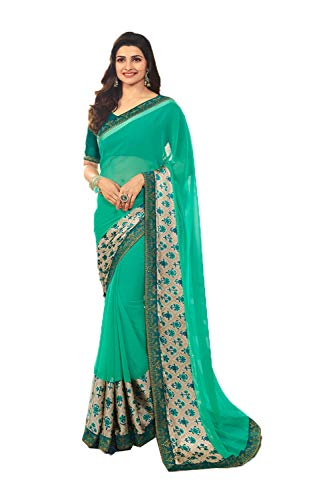 (Indian Sarees for Women Wedding Designer Party Wear Traditional Sea Green Sari.)
