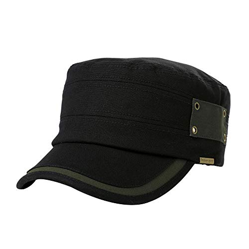 Womens Army Cap Military Adjustable Strapback Hat Men Baseball Cadet Cotton Black