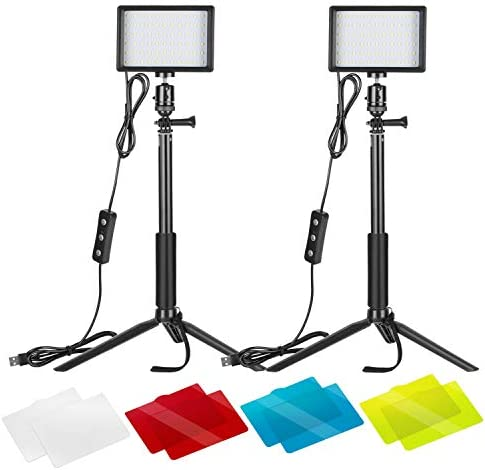 Neewer 2 Packs Dimmable 5600K USB LED Video Light with Adjustable Tripod Stand/Color Filters for Tabletop/Low Angle Shooting, Colorful LED Lighting, Product Portrait YouTube Video Photography