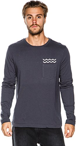 New Mollusk Men's Marianas Ls Tee Crew Neck Long Sleeve Cotton Blue