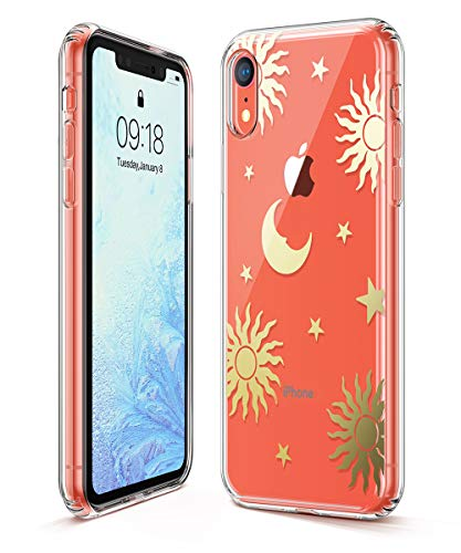 (GVIEWIN Trend Case Compatible for iPhone XR, Hard Back Cover + Soft TPU Bumper Edge with Shining Pattern Design for iPhone XR 6.1