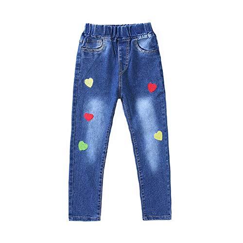 Da.Wa Washed Jeans Love Pattern Dark-Colored Slim Elastic Waist Jeans for Girls by Da.Wa