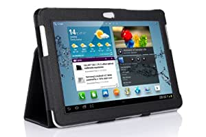 SupCase Slim Fit Folio Leather Tablet Case Cover for 10.1-Inch Samsung Galaxy Tab 2, Black (S5113-62A-BK)