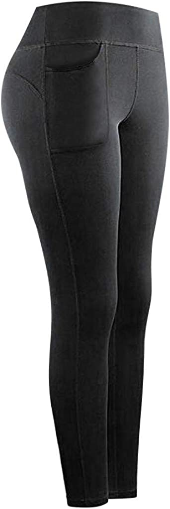 Buyaole Leggings Deporte Mujer,Pantalones Chandal Mujer,Mujeres Stretch Yoga Leggings Fitness Running Gym Bolsillos Deportivos Pantalones Activos