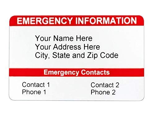 Emergency Contact Wallet Card ICE Card Medical ID Card Customizable! Emergency Identification by Secure ID, LLC