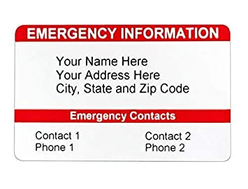 Emergency Contact Wallet Card Ice Card Medical Id Card Customizable Emergency Identification