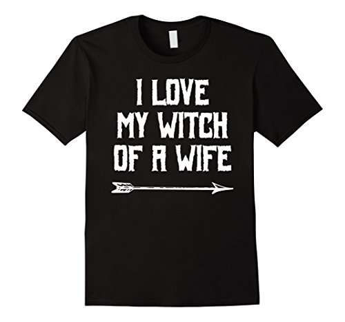 Mens Witch of a Wife - Funny Couples Halloween Shirts XL Black (Matching Costumes For Husband And Wife)