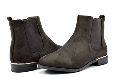 DREAM PAIRS CHESNEY Womens Stylish Elastic Side Panel Ankle Riding Chelsea Booties Shoes Boots