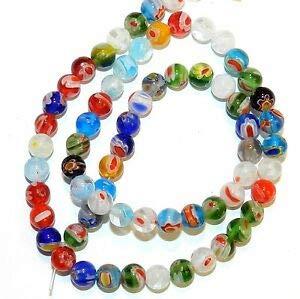 Millefiori Glass Beaded Bracelet - Steven_store G4244 Assorted Color Multiple Flower Millefiori 5mm Round Glass Beads 13