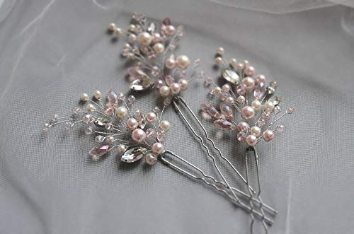 Deniferymakeup Bridal Set of 3 Hair Pins Blush Pink Pearl Hair Pin Baby Breath Hair Pin Bridal Hair Pin Pearl Hairpiece Pink Wedding Hair Accessories (Rose Gold)