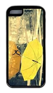 case the best covers yellow umbrella rain TPU Black Case for iphone 5C
