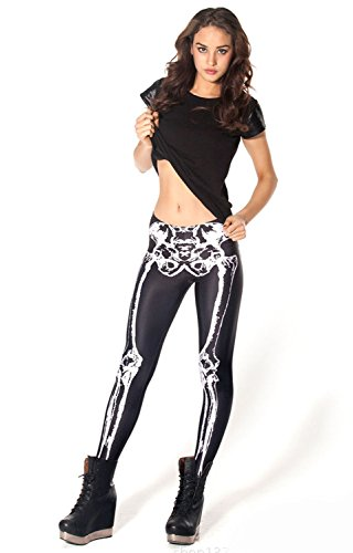 Ensasa Womens Fashion Digital Print Black White Skeleton Spandex Leggings (One Size)