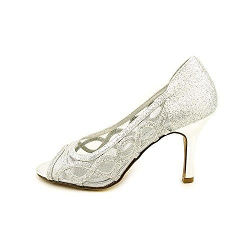 Karen Scott Khat Tallas Para Mujer 9.5 M Plata Open Toe Pumps Tacones Zapatos