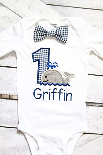 Boy first birthday Navy Whale Gingham First birthday Whale baby boy cake smash one year outfit birthday outfit birthday baby boy