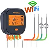 Inkbird WiFi Grill Thermometer IBBQ-4T, Rechargeable Wireless BBQ Thermometer with 4 Probes, Calibration, Timer, High and Low Alarm, Digital Meat Thermometer for Smoker, Oven, Kitchen, Drum