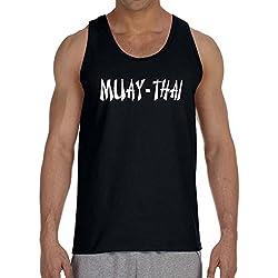 Men's Muay Thai Fighter V442 Black Tank Top 2X-Large Black