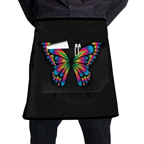 Butterfly Personalized Chef Work Crafts with Pocket Half Apron, Unisex Restaurant, Shop, Art Shirt, Waiter Cooking Clean Restaurant Bistro Coffee ()