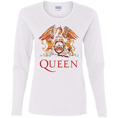 Queen Women's Logo Rock Band Cotton LS T-Shirt White -