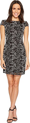 White Womens Cocktail Black Papell Sheath Corded Sleeve Cap Adrianna Dress Lace 1vRq45