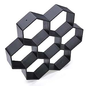 Hamkaw Modelo Hormigon Reutilizable con Forma Hexagonal, Molde Cemento para Hacer Pavimentos, Caminos,