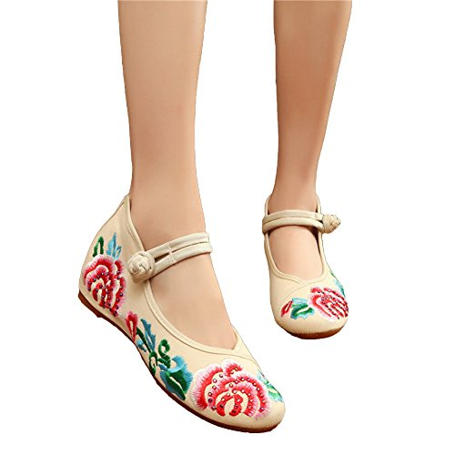 Avacostume Womens Hot Drilling Flower Embroideried Mary Jane Dress Shoes Beige