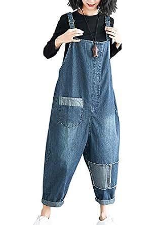 Flygo Women's Loose Baggy Denim Wide Leg Drop Crotch Printed Bib Overalls Jumpsuit Rompers (Medium, Style 09 Blue)