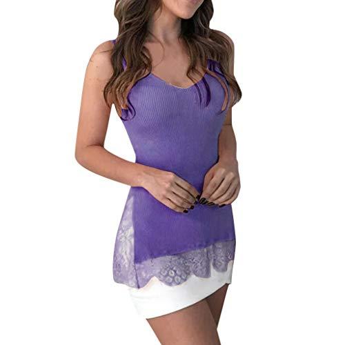 JMETRIE Women's Casual Tank Top Off Shoulder Lace Patchwork Loose T-Shirt Blouse Purple