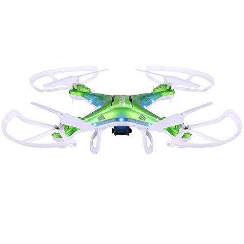 CEStore H5P 2.4GHz 6 Axis Gyro Drone 4 Channels 360 Degree Flips Rotation Headless RC LED Quadcopter with 2.0MP HD Camera &Large Capacity Battery 15 Mins Flying Auto Return-Green