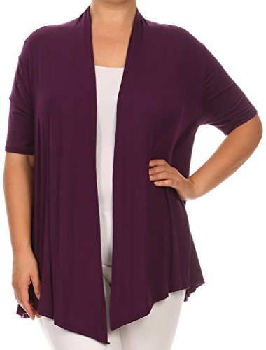 - BNY Corner Women Plus Size Short Sleeve Cardigan Open Front Casual Cover Up Plum 1X 433 SD