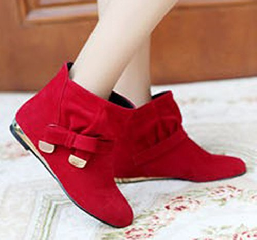 Aisun Womens Sweet Bowknot Suede Flat Ankle Boots Red xOU8mZ