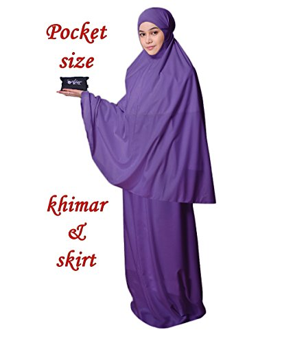 Muslim Womens Prayer Dress Pocket-Size Hijab Scarf Skirt Islamic Abaya by AJAR