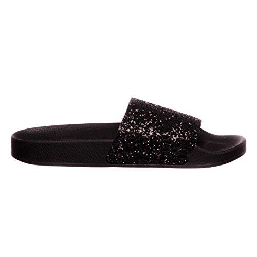 femmes Glitter Black The 37 White chaussons EU caoutchouc Brand Fz7pZqwx
