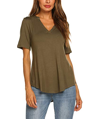 Beyove Women's V Neck Shirts Short Sleeve Loose Casual Flowy Tunic Tops,Army Green,Medium ()