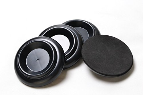 Sound harbor PA-7 ABS Plastic Material, Upright Piano Caster Cups Gripper Pads Slide-Proof Rug Caster Cups Vertical piano Furniture Round Set Load Bearing Set of 4 (black)